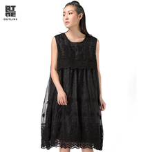 Outline Spring Women Loose Dress Lace Embroidery Hollow Out Knee-Length Dress Black O-neck Sleeveless Plus Size Dresses L143Y009