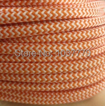 100meters/roll 2*0.75mm copper cord vintage orange and white knitted electrical wire cloth electrical wire for pendant lights