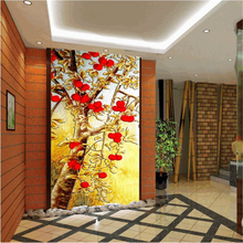 beibehang Large custom wallpapers HD color carvings Download the living room bedroom entrance decoration background