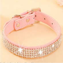 Pet Collar Hot Bling Rhinestone PU Leather Crystal Diamond Puppy Pet Dog Collars Size S M L Pink Red Supplies Products(China)