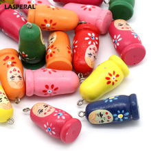 LASPERAL Charms 20PCs Fixed Mix Russian Doll Pattern Wood Charm Pendants Jewelry Finding For DIY Necklace 3.5cmx1.6cm
