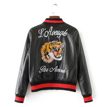 Vintage Tiger Embroidery Baseball Coat Leather Jacket Women 2017 Spring Quilted Faux Leather Women Bomber Jacket Biker Outerwear