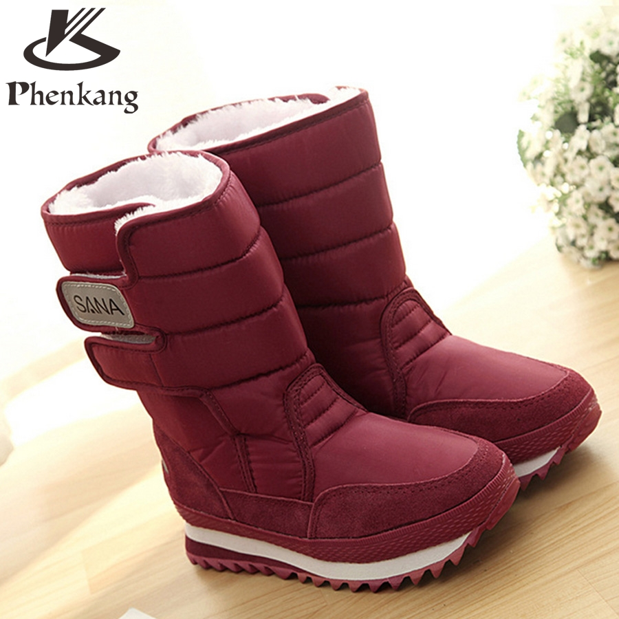 2017 boots winter snow factory-shoe black white winter boots for women with fur Waterproof boots big shoes woman size 10<br><br>Aliexpress