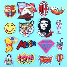 Hot Embroidered Patch Iron On Cloth Patches 16 Designs DIY Garment Bear Pow Eagle Tiger Smile Diamond Cup Bag Music Bear Pow ACM(China)