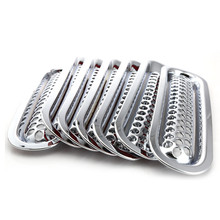 7pcs Chrome Clip-in Front Mesh Grill Grille Insert Car Styling External Accessories Fit For 2007-2015 Jeep Wrangler JK #7414