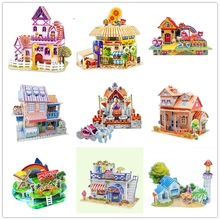 Cartoon 3D puzzles Fancy diy 3D puzzle paper model Many castles hut to hold model(China)