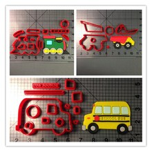 Custom Made 3D Printed Traffic Tools Train Truck Fire School Bus Fondant Cupcake Top Cookie Cutter Set
