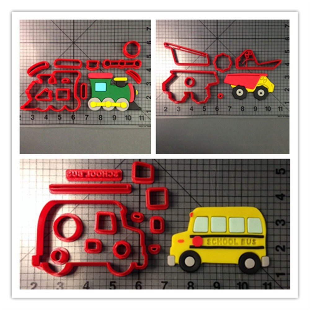 Custom Made 3D Printed Traffic Tools Train Truck Fire School Bus Fondant Cupcake Top Cookie Cutter Set(China (Mainland))