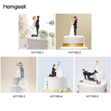 2016 New funny wedding cake toppers Bride & Groom Wedding Cake Topper Romantic Wedding Party Decoration Figurine Craft Gift
