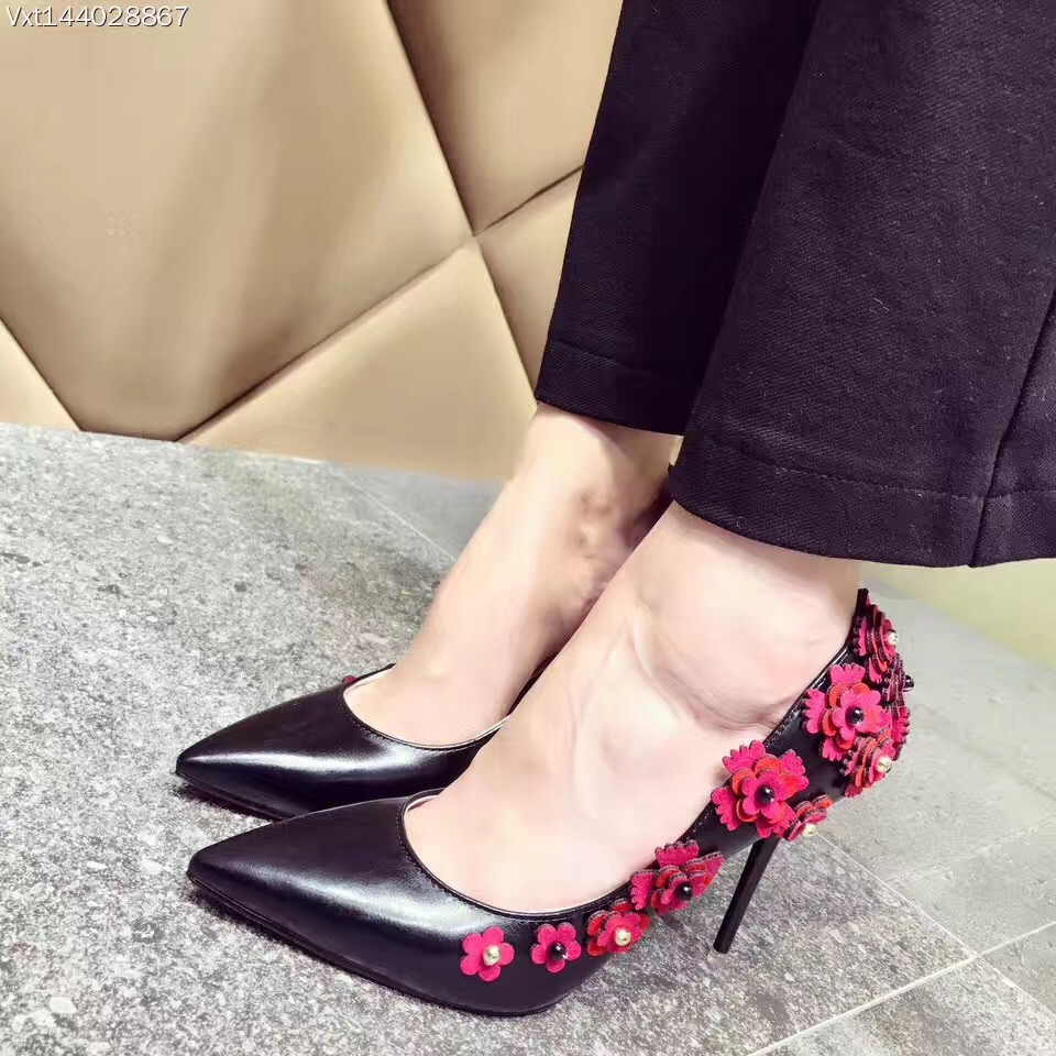 2017 Women High Heels Party Shoes Pointed Toe Flowers Black Beige Sapato Noiva 11CM Extreme High Heels<br>