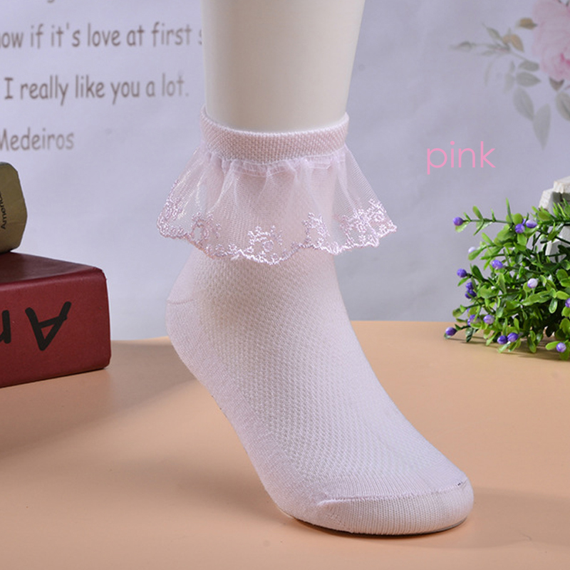 2T-14T 3 Pack of White Lace Ruffles and Bow Knee High Girl Princess Socks