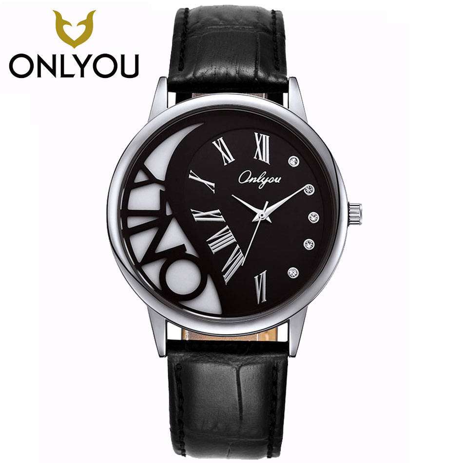 ONLYOUNew Women Coffee Band Movt Water Resistant Life Watch Female Clock diamond simple Lover wrist watch female models shipping<br>