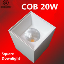 10PCS/LOTS AC90-260V surface mounted downlight cob led spot lights 20w square mall project suspension wires Downlight