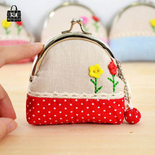 RoseDiary pastoral National Handmade Cloth art zero wallet Women lady Wallets,student&girl children Wallet hasp coin Purse bag(China)
