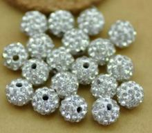 6mm 8mm 10mm 12mm 14mm 100 pcs/lot white XFW232RE Crystal Shamballa Bead Bracelet necklace Rhinestone disco ball handmade