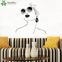 YOYOYU Wall Decal Woman With Glasses Wall Decals Modern Design Interior Salon Door Window Vinyl Wall Stickers Girls Face ArtJM15(China)