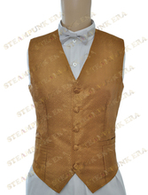Free Shipping Halloween Costume Deluxe Golden Jacquard Single Breasted Victorian Steampunk Waistcoat