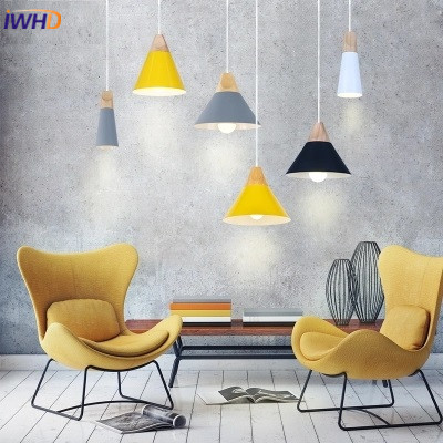 Nordic Modern Wood Pendant Lights Colorful Aluminum Lamp Shade Luminaire Dining Room Lights Pendant Lamp For Home Lighting<br>