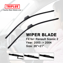 "Wiper Blade for RENAULT SCENIC 2 (2003-2004) 1 set 26""+21"",Flat Aero Windscreen Wiper Frameless Windshield Soft Wiper Blades"