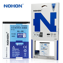 Original NOHON Brand Battery BL-5B For Nokia N80 3220 3230 6060 6070 6080 5200 5300 5208 5070 7260 900mAh Mobile Phone Batterie(China)