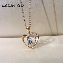 LASAMERO Romantic 0.24CT  18k Rose Gold  Round Cut Love Heart Design Pave Set Natural Diamond Pendant Necklace