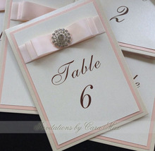 CA0706 Baby Pink Table Cards for Wedding with Satin Ribbon