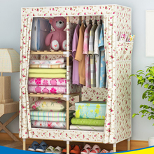 2 STYLE Wooden Wardrobes simple creative wardrobe student wardrobe Oxford cloth wardrobe solid wood reinforcement(China)
