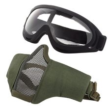 2a65d5e9729a New Mask and wind mirror Airsoft Masks- Adjustable Half Metal Steel Steel  wire Mesh Face Mask And UV400 Goggles Set For Tactical