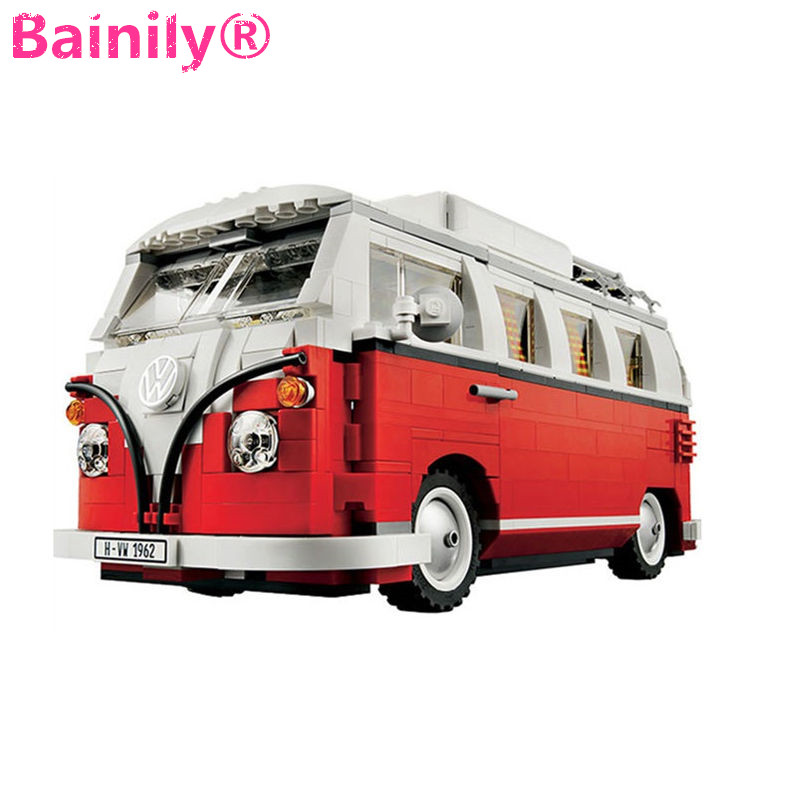 [Bainily] Volkswagen Camper Van Model City Building Blocks With Led Light Compatible Legoe Technic Car To Childrens Gift Toys<br><br>Aliexpress