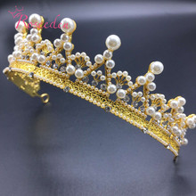 Europe Vintage Retro Baroque Crown Headband Hairpin Gold  tiara With Pearl Women Hair Wedding Accessories Alloy Crown/TiaraRE164