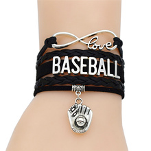 Fashion Punk Sports Jewelry Antique Silver Infinity Love Charm Softball Baseball Glove Pendant Multilayer Leather Bracelets