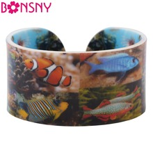 Bonsny Acrylic Fish Pattern Wide Love Bracelets Bangles For Women 2017 News Ocean Collection Jewelry Gift Bijoux Accessories(China)