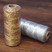 1pcs 12ply baker twine Striped Striped DIY Metallic golden Gold Silver Twist Rope Baker Twines for Craft Gift Packing spools(China)