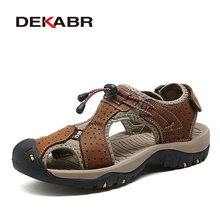 DEKABR (High) 저 (Quality Men 샌들 패션 Genuine Leather Casual Shoes Classic Style 남성 샌들 숨 Summer 화 대 한 Men(China)