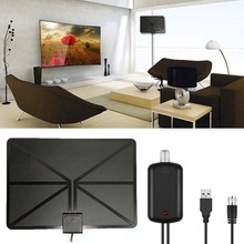 Newest High Gain Digital Indoor TV Antenna Flat Design Television Antenna Amplifier HD TV DTV Box 50 Miles Range(China)