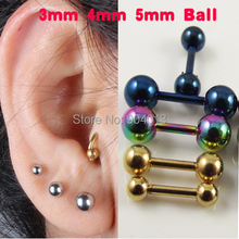 1pair (2pcs) Stainless Steel Round Bone Earring Black Silver Gold Rainbow Barbell Tragus Ear Helix Body Piercing  Jewelry