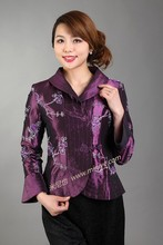 Top Fashion Purple Lady Satin Polyester Overcoat Turn-down Collar Single Button Jacket Embroidered Clothing Size S To XXXL NJ50