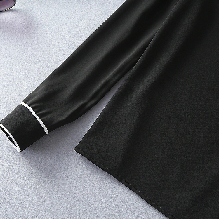 Two Pieces Set New Skirt Suits 17 Autumn Winter Women Turn-down Collar Black Blouses+Mid-Calf Length Pencil Skirts Clothing 8