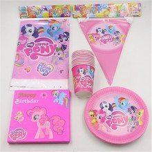 My Little Pony Cartoon Disposable Tableware Paper Cup Plate Flag For 10 Kids Birthday Party Decoration Supplies 42pcs Party Set