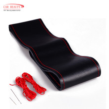 2017 New Universal Genuine Leather Cowhide DIY Car Steering Wheel Cover Case With Needles and Thread Car Cover(China)