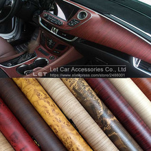 high quality Self-adhesive Vinyl Wood Grain Textured Car Wrap Car Internal Stickers Wallpaper Furniture Wood Grain Paper Film(China)