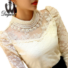 Dingaozlz elegant long sleeve bodysuit beaded Women lace blouse shirts crochet tops blusas Mesh Chiffon blouse female clothing(China)