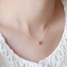 DCM Free Shipping Jewelry wholesale Rose gold Color Crystal Necklace Fashion Heart Girls Gift for women choker