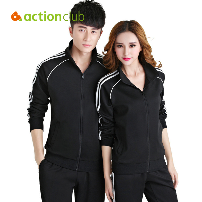 Actionclub Sportwear Women Sport Suit Outdoor Couple Sports Wear Autumn Long Sleeve Sweatshirts Size S-4XL Running Sets SR284<br><br>Aliexpress