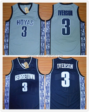 Cheap basketball jersey movie Georgetown Hoyas 3 Allen Iverson jerseys embroidery Accept mix wholesale SIZE S-3XL