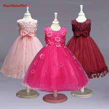 BacklakeGirls Wholesale Beautiful Cheap Flower Girl Dress Tulle With Flowers and Bow Decoration Pageant Dresses For Girls(China)