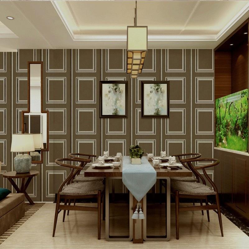 Free Shipping Modern lattice wooden frame wallpaper European grain 3D gypsum strip living room TV sofa background wallpaper <br>