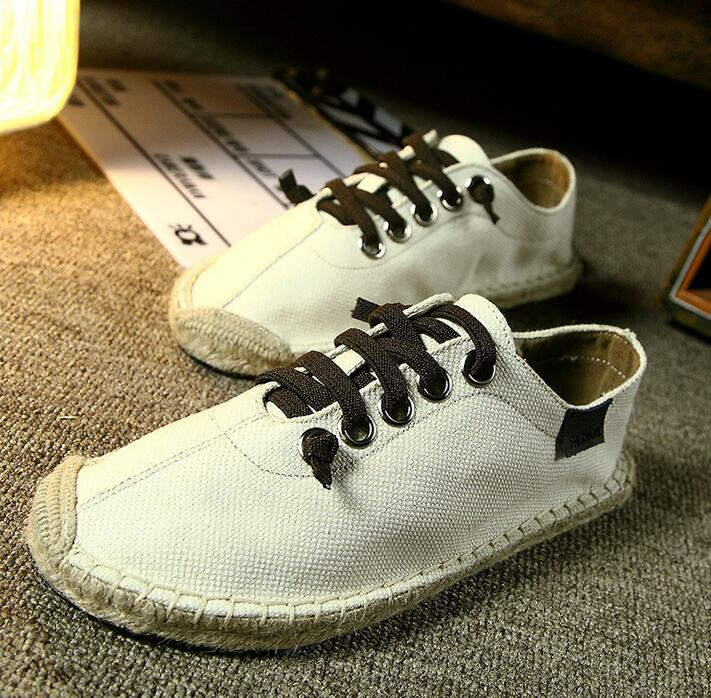35-43 44 11 12 13 Couple canvas shoes 2017 summer lovers s canvas shoes straw shoes Peas casual boys shoes couple loaf linen<br><br>Aliexpress