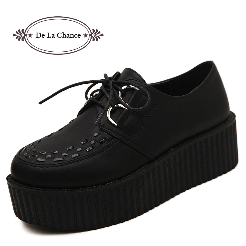 Big Size 40 Spring Autumn Flat Shoes Vintage Women Creepers Platform Shoes Woman Flatform Black Suede Creepers For Women<br>