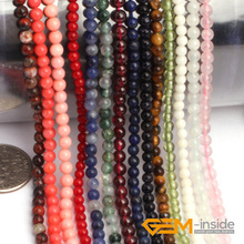 3mm Round Natural Stone Beads Assortmen Selectable: Jad,Coral, Jaspe r,Quartzs, Goldstone, Sodalite, Aventurine, Strand 15 Inch
